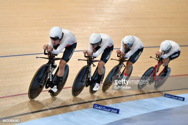 England compete in the Cycling Track Men's 4000m Team Pursuit on day one of the Gold Coast 2018 Commonwealth Games at the Anna Meares Velodrome on...