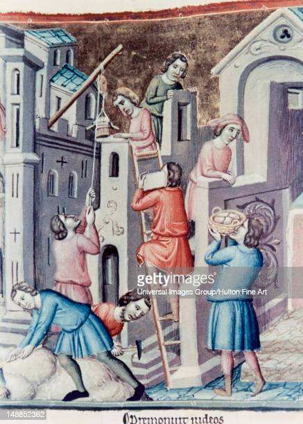 England Construction of a castle in a medieval village 15th century Canterbury Psalter National Library Paris France