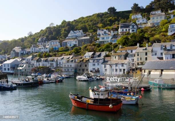 uk, england, cornwall, polperro, fishing harbor - cornwall england stock pictures, royalty-free photos & images