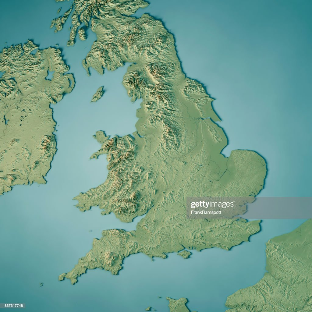 England Country 3d Render Topographic Map High Res Stock Photo