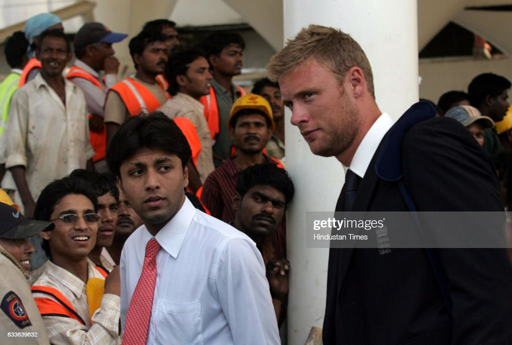 England Cricket all Rounder Andrew Flintoff arrives at airport to play practice matches in Mumbai on Thursday.