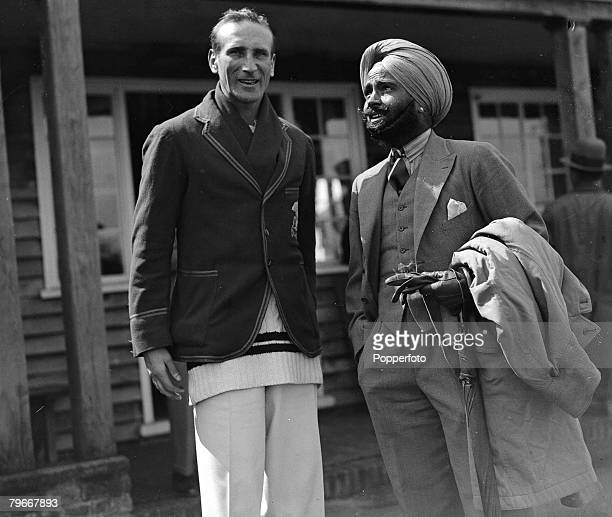 England cricket captain Douglas Jardine chats with Jogendra Singh prior to the match between Mr Gilbert Scott's XI and the touring team from India,...