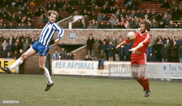 England cricket captain Ian Botham of Scunthorpe in action during a league Division Four match between Scunthorpe United and Wigan Athletic at the...