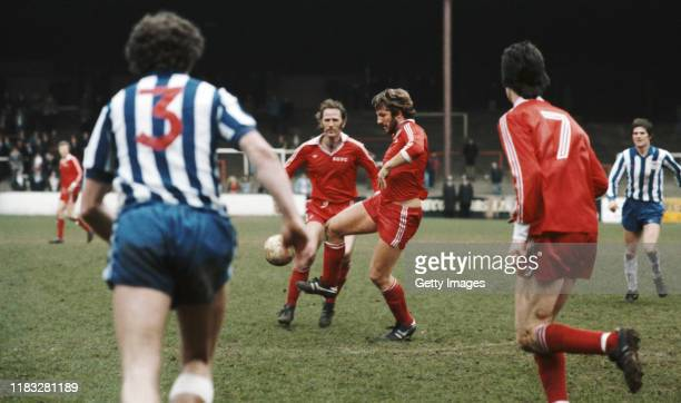 England cricket captain Ian Botham of Scunthorpe United in action during the League Division Four match between Scunthorpe United and Wigan Athletic...
