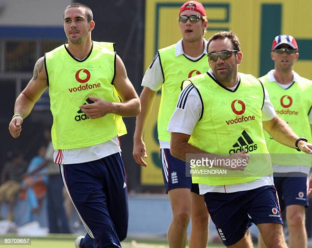 England cricket captain Kevin Pietersen with his teammats run during a training session ahead of the second One Day international match between...