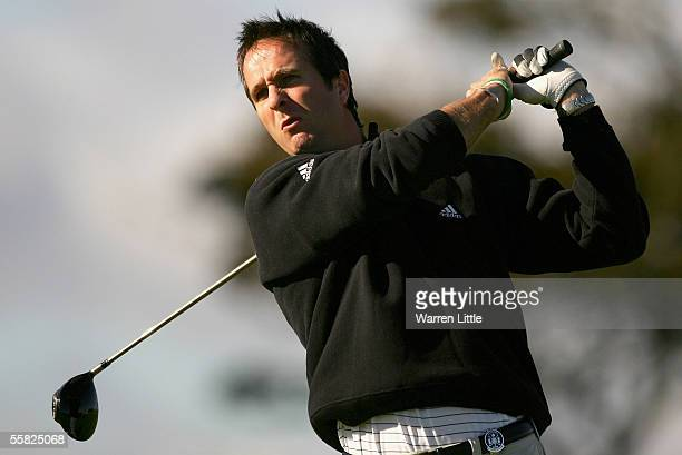 England cricket Captain, Michael Vaughan, tees off on the 11th hole during the first round of the Dunhill Links Championship on September 29, 2005 at...