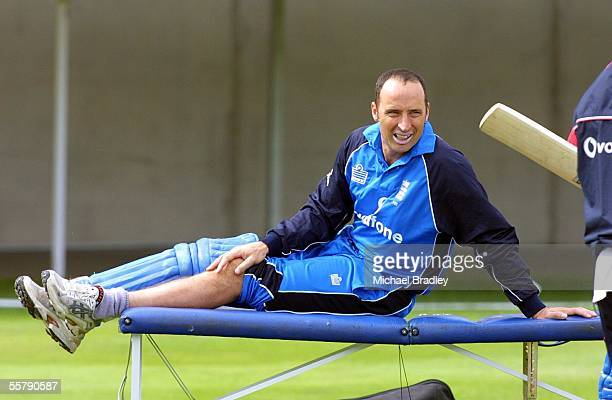 England cricket captain Nasser Hussain took a knock to his knee and gets some physio work done during batting practice at training prior to the one...