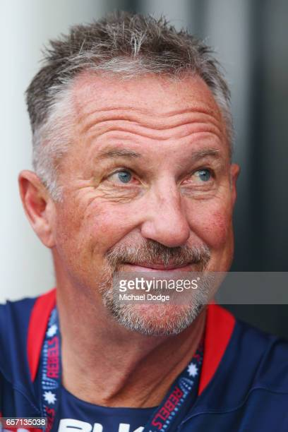 England cricket legend Ian Botham is seen dressed in a Melbourne Rebels shirt during the round five Super Rugby match between the Rebels and the...