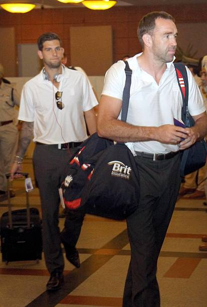 England cricket players Jonathan Trott and Craig Kieswetter arrive at a hotel on October 18 2011 in ChandigarhIndia