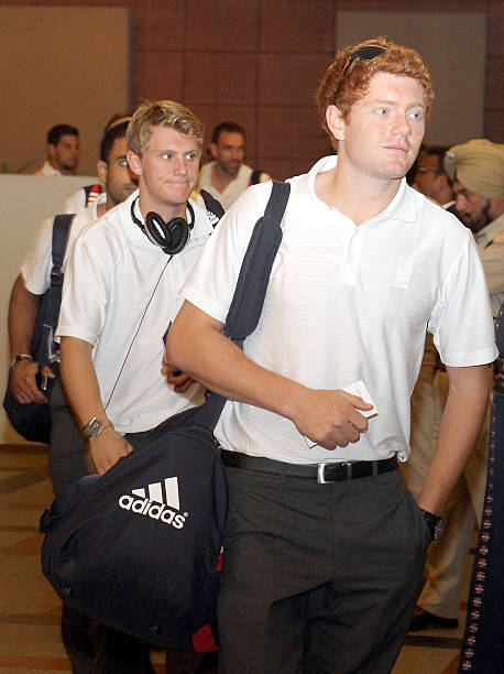 England cricket players Jonny Bairstow Scott Borthwick arrive at a hotel on October 18 2011 in ChandigarhIndia