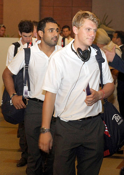England cricket players Scott Borthwick and Ravi Bopara arrive at a hotel on October 18 2011 in ChandigarhIndia