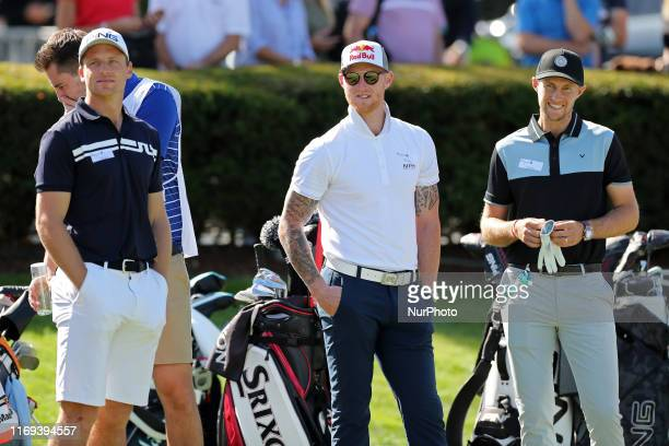 England Cricket Tro, Joss Buttler, Ben Stokes and Joe Root during the BMW PGA Championship Pro Am at Wentworth Club, Virginia Water on Wednesday 18th...