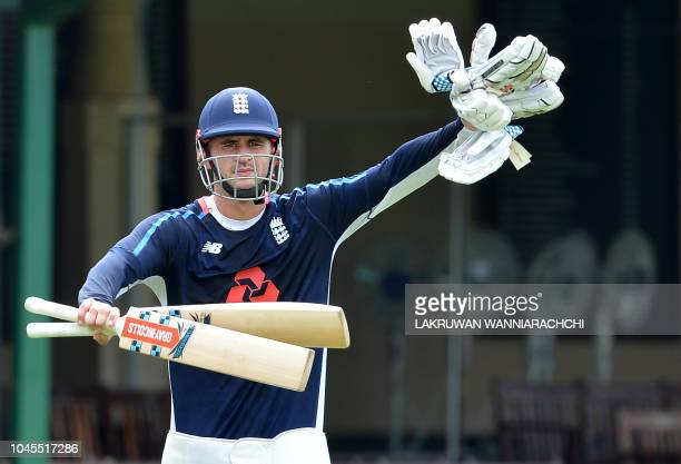 England cricketer Alex Hales gestures during a practice session at the P Sara Oval Cricket Stadium in Colombo on October 4 2018 The England Cricket...