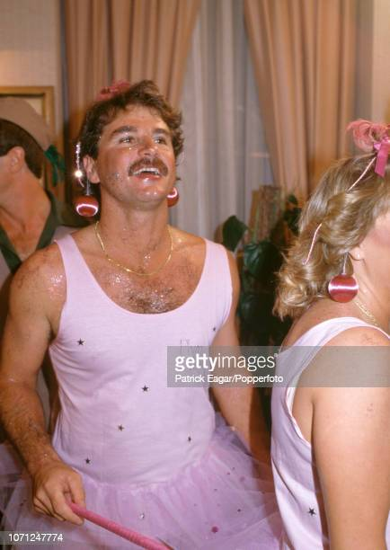 England cricketer Allan Lamb in fancy dress as a plum fairy for the England team's Christmas Day party in Melbourne Australia 25th December 1986