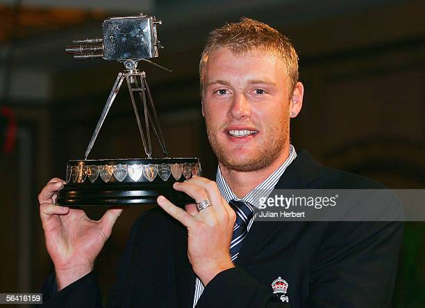 England cricketer Andrew Flintoff poses with The BBC Sports Personality Of The Year Award that he was presented with at the teams hotel on December...