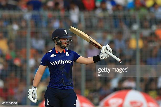 England cricketer Ben Duckett celebrates a half century during the first one day international cricket match between Bangladesh and England at the...