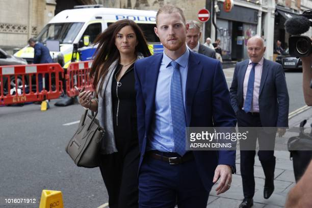 England cricketer Ben Stokes and his wife Clare arrive back at Bristol Crown Court after a lunch break in Bristol southwest England on August 13...