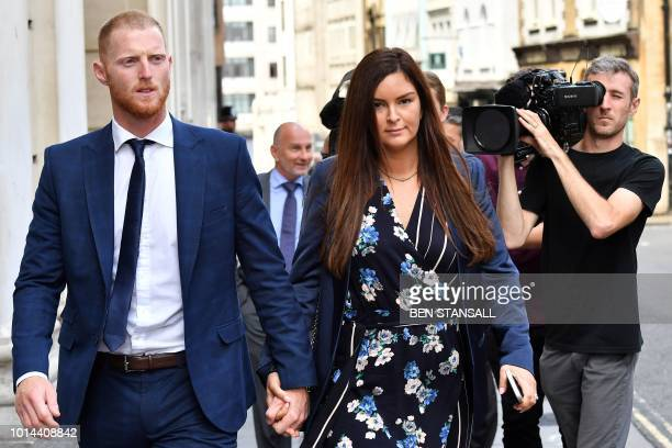 England cricketer Ben Stokes and his wife Clare leave Bristol Crown Court in Bristol southwest England on August 10 2018 during the lunch break as he...