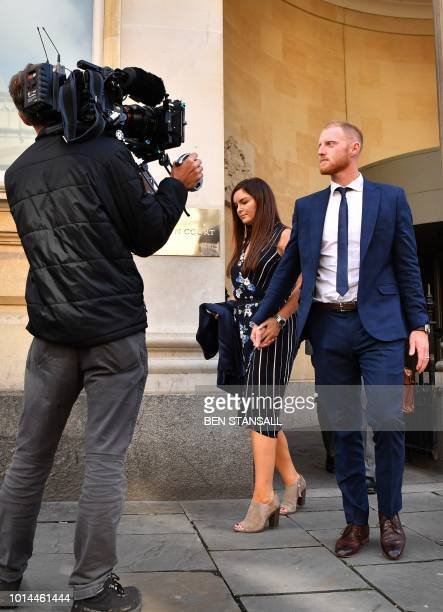 England cricketer Ben Stokes and his wife Clare leave Bristol Crown Court in Bristol southwest England on August 10 2018 after attending a hearing in...