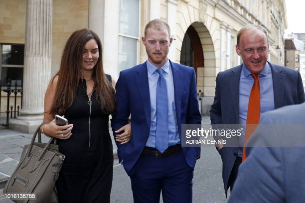 England cricketer Ben Stokes and his wife Clare leave Bristol Crown Court as the trial breaks for the day in Bristol southwest England on August 13...