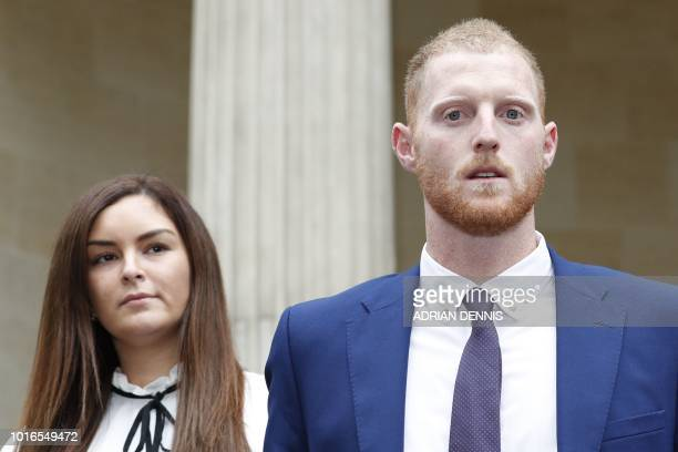 England cricketer Ben Stokes and his wife Clare leave Bristol Crown Court in Bristol southwest England on August 14 after he was found not guilty of...