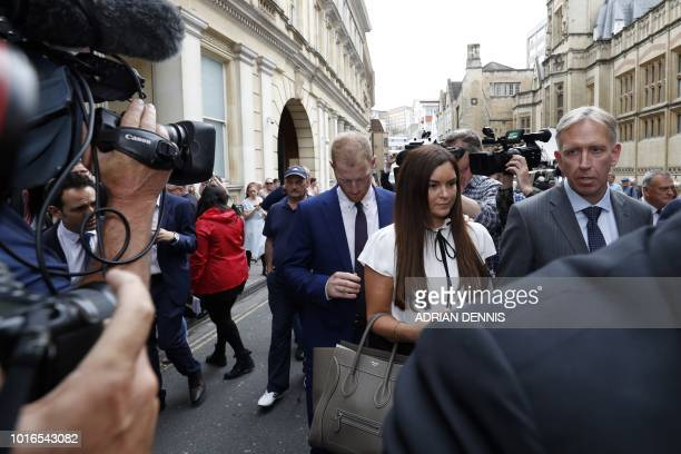 England cricketer Ben Stokes and his wife Clare leave from Bristol Crown Court in Bristol southwest England on August 14 after he was found to be not...