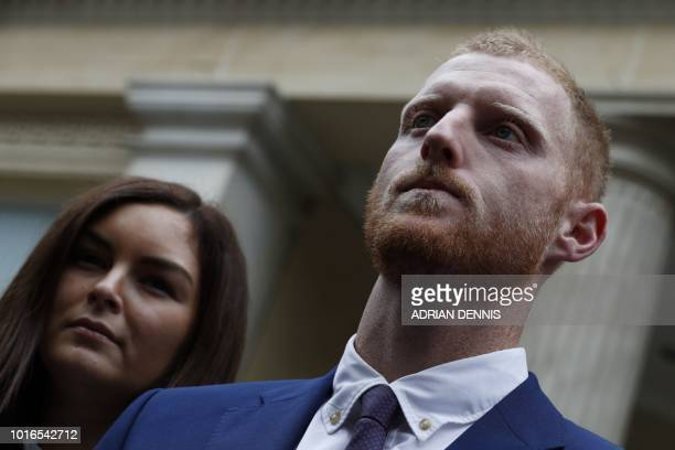 England cricketer Ben Stokes and wife Clare leave Bristol Crown Court in Bristol southwest England on August 14 where he was found not guilty of...