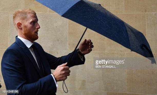 England cricketer Ben Stokes arrives at Bristol Crown Court in Bristol southwest England on August 10 2018 for a hearing in his trial on charges of...