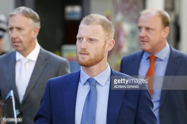 England cricketer Ben Stokes arrives at Bristol Crown Court in Bristol southwest England on August 13 2018 to attend a hearing in his trial on...