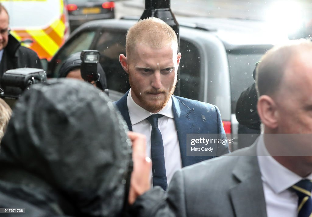 England Cricketer Ben Stokes arrives at Bristol Magistrate's Court on February 13, 2018 in Bristol, England. The 26-year-old all-rounder, who was charged with affray in January over an incident outside a Bristol night club late last year, has not played for England since being arrested in September and is hoping today to be given permission to fly to New Zealand to resume playing international cricket.