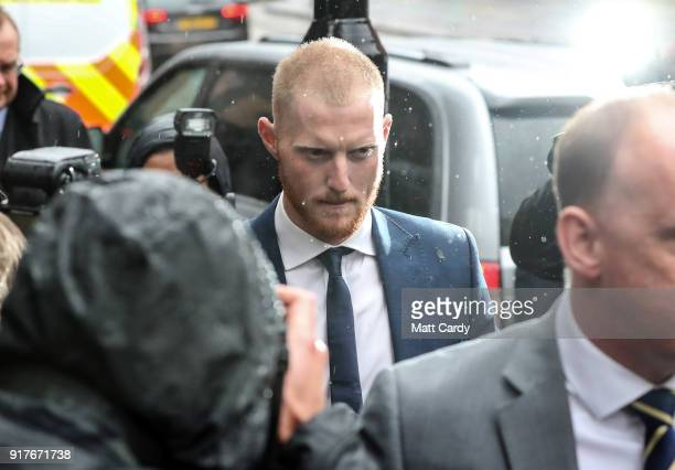 England Cricketer Ben Stokes arrives at Bristol Magistrate's Court on February 13 2018 in Bristol England The 26yearold allrounder who was charged...