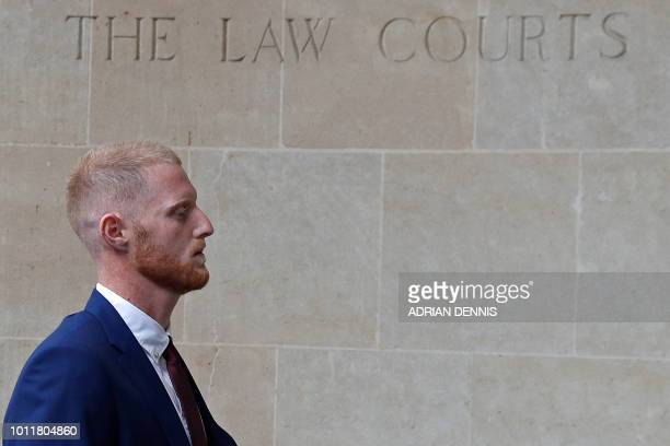 England cricketer Ben Stokes arrives for the start of his trial at Bristol Crown Court in Bristol southwest England on August 6 2018 Ben Stokes's...