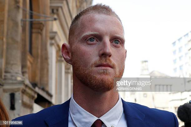 England cricketer Ben Stokes leaves Bristol Crown Court as the trial breaks for lunch in Bristol southwest England on August 6 2018 Ben Stokes's...