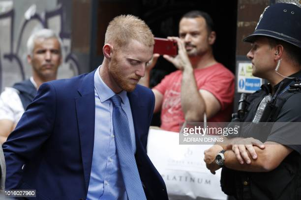 England cricketer Ben Stokes leaves Bristol Crown Court as the trial breaks for lunch in Bristol southwest England on August 13 during his trial on...