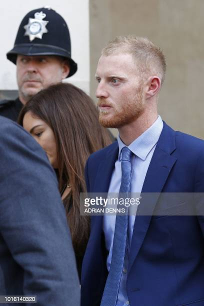 England cricketer Ben Stokes leaves Bristol Crown Court as the trial breaks for the day in Bristol southwest England on August 13 during his trial on...