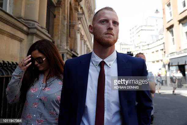 England cricketer Ben Stokes leaves Bristol Crown Court for as the trial breaks for lunch in Bristol southwest England on August 6 2018 Ben Stokes's...