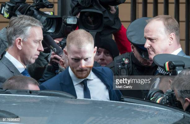 England Cricketer Ben Stokes leaves Bristol Magistrate's Court on February 13 2018 in Bristol England The 26yearold allrounder who was charged with...
