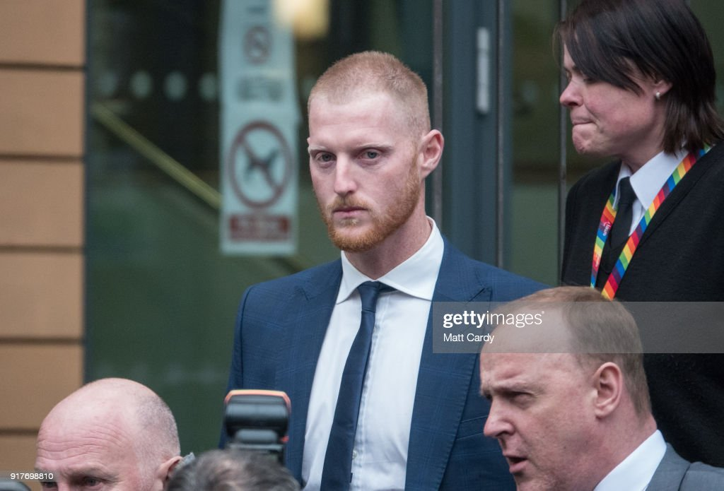 England Cricketer Ben Stokes leaves Bristol Magistrate's Court on February 13, 2018 in Bristol, England. The 26-year-old all-rounder, who was charged with affray in January over an incident outside a Bristol night club late last year, has not played for England since being arrested in September and is hoping today to be given permission to fly to New Zealand to resume playing international cricket.