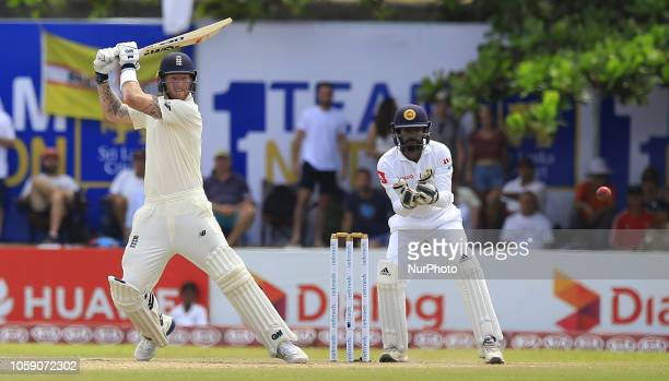 England cricketer Ben Stokes plays a shot during the 3rd day's play of the first test cricket match between Sri Lanka and England at Galle...