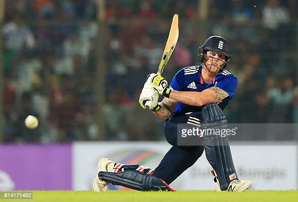 England cricketer Ben Stokes plays a shot during the third and final One Day International cricket match between Bangladesh and England at the Zahur...