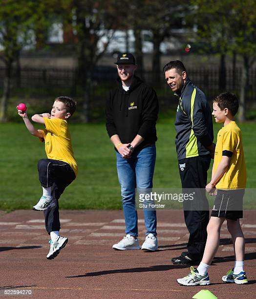 England cricketer Ben Stokes teaches WWE supertar The Miz how to play cricket along with bowler Charlie Darwood from Ravenswood primary school at a...