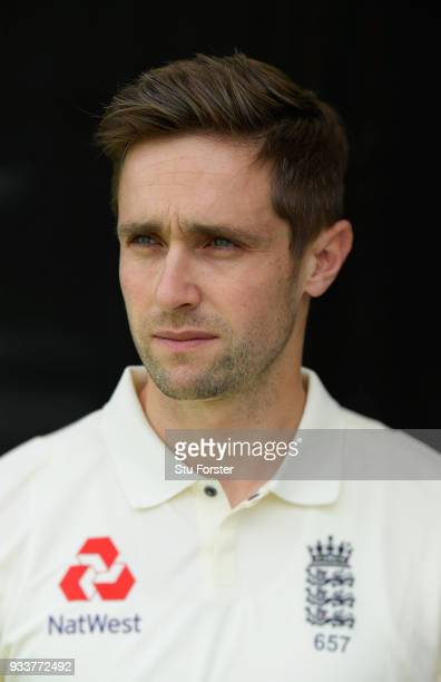 England cricketer Chris Woakes pictured during day two of the Test warm up match between England and New Zealand Cricket XI at Seddon Park on March...