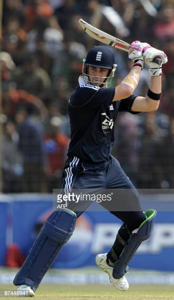England cricketer Craig Kieswetter plays a shot during the third One Day International match between Bangladesh and England at The Zohur Ahmed...