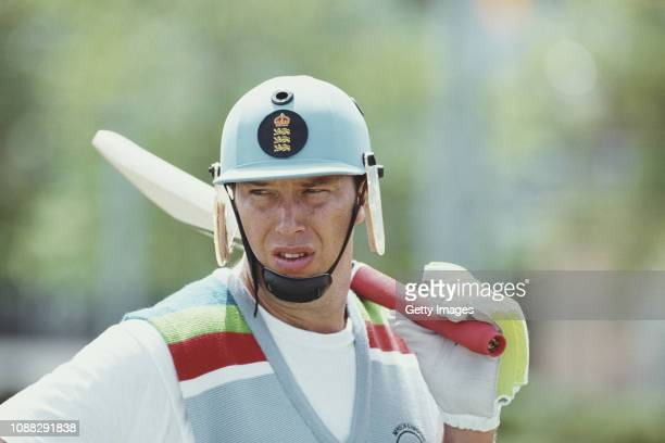 England cricketer Derek Pringle looks on during a net session ahead of their 1992 Cricket World Cup match against Australia on March 4 1992 in Sydney...