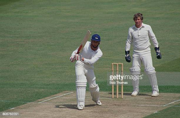 England cricketer Graeme Fowler batting against New Zealand watched by wicket keeper Ian Smith in a Prudential World Cup match at Edgbaston...