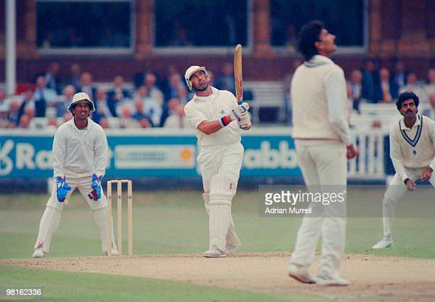 England cricketer Graham Gooch batting against India on the first day of the 1st Test at Lord's Cricket Ground London 26th July 1990 England won by...