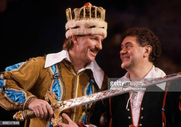 England cricketer Ian Botham and comedian Max Boyce star in the pantomime Jack and the Beanstalk in Bournemouth December 1991