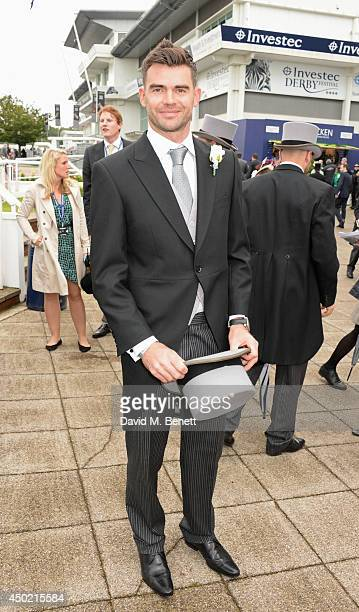 England cricketer James Anderson attends Derby Day at the Investec Derby Festival at Epsom Downs Racecourse on June 6 2014 in Epsom England