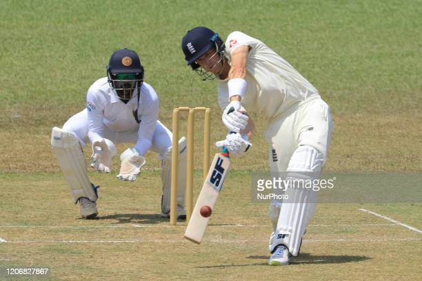 England cricketer Joe Denly steps out and plays a shot during the first day of the 2nd Warm up cricket match between Sri Lanka's Board President's XI...