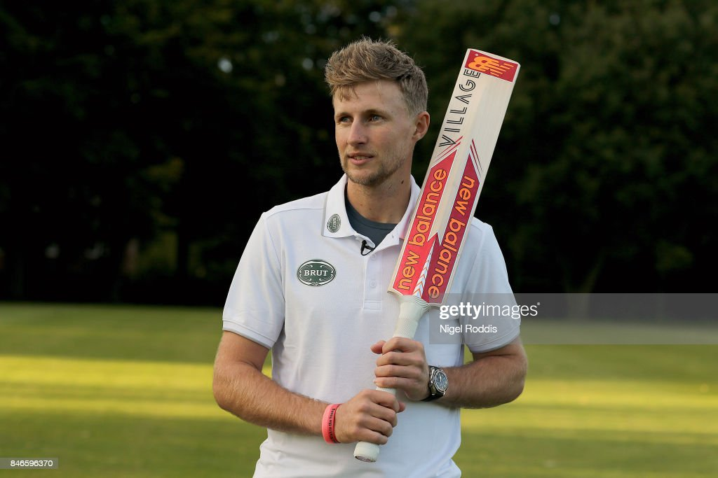 England cricketer Joe Root poses for pictures during the Brut T20 Cricket match betweenTeam Jimmy and Team Joe at Worksop College on September 13, 2017 in Worksop, England.